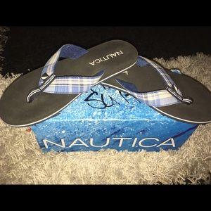 Nautica flip flops! Blue plaid, size 6, Brand New